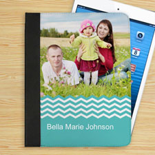 Personalized Aqua Chevron Personalized Photo Folio Case