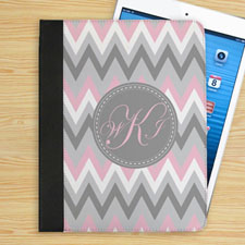 Personalized Pink White Grey Zigzag Chevron Custom Monogrammed Folio Case