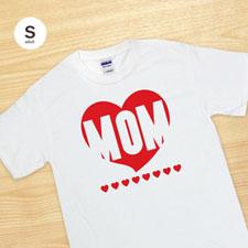 Camiseta personalizada corazón rojo mamá blanco adulto pequeño