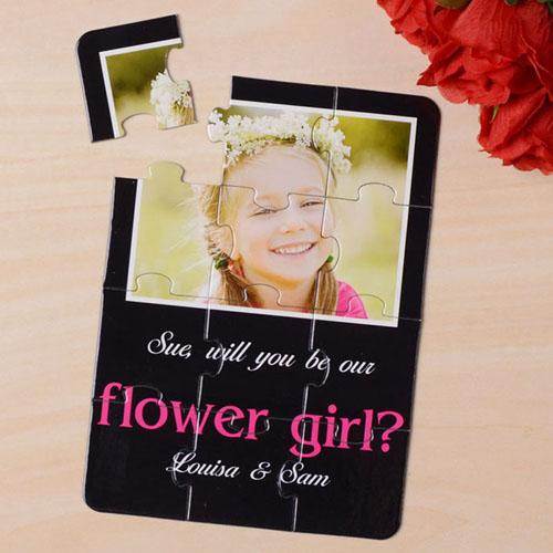 Rompecabezas como carta de color negro elegante, Quieres ser mi nina de las flores