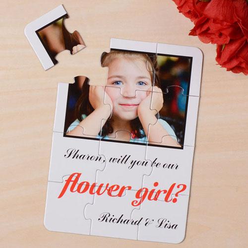 Rompecabezas blanco como invitación personalizada, Quiéres ser mi         ? blanco Will You Be My Flower Girl Invitation Puzzle
