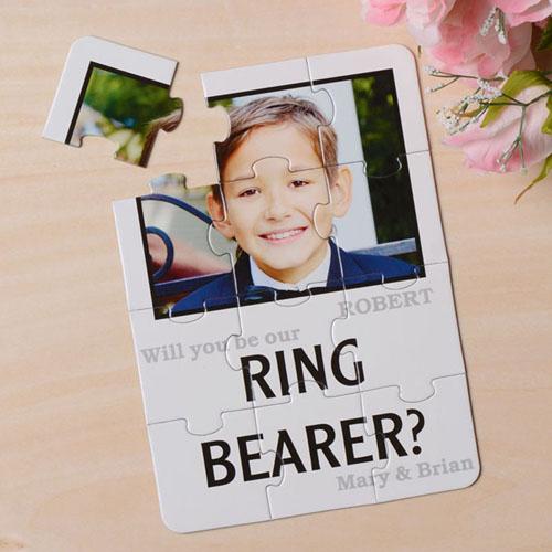Rompecabezas blanco como invitación personalizada, Quiéres ser mi         ? blanco Will You Be My Ring Bearer Invitation Puzzle