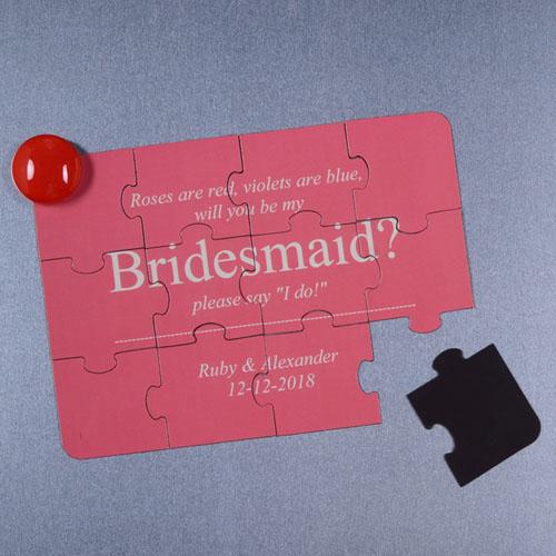 Rompecabezas magnéticos y personalizados como invitación, Quiéres ser mi dama de honor?