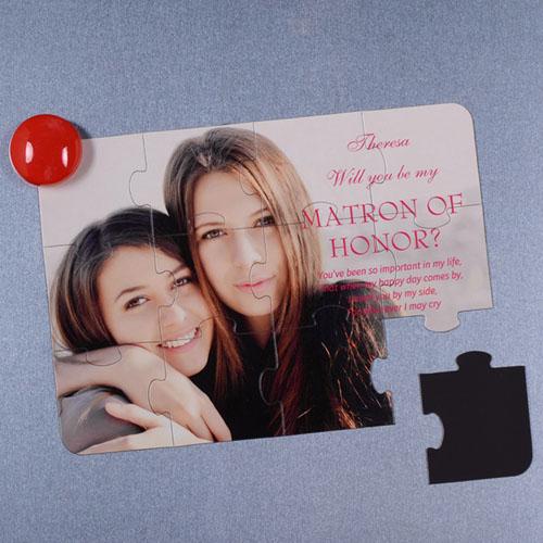 Rompecabezas magnético como invitación personalizada con foto, Quiéres ser mi dama de honor?