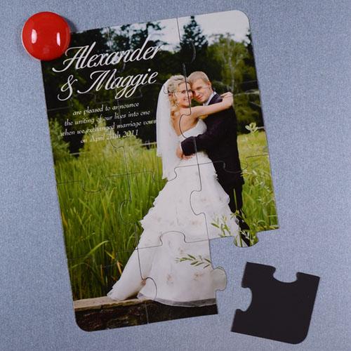 Rompecabezas magnético personalizado como invitación al anuncio de la boda con foto