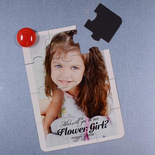 Rompecabezas magnético personalizado como carta para la niña de las flores