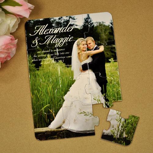 Rompecabezas como anuncio del apego eterno en la boda personalizado