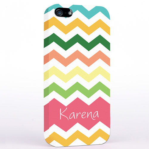 Personalized Colorful Stripes Chevron iPhone Case