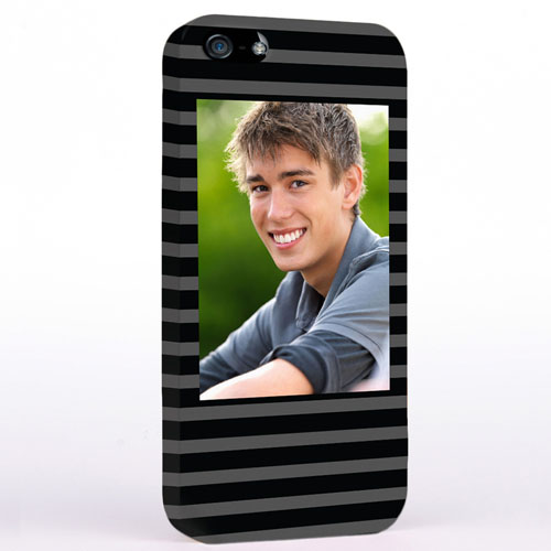 Personalized Grey Stripes Pattern Photo iPhone Case