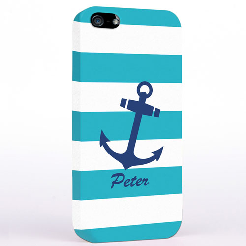Personalized Navy Anchor Turquoise Strips iPhone Case