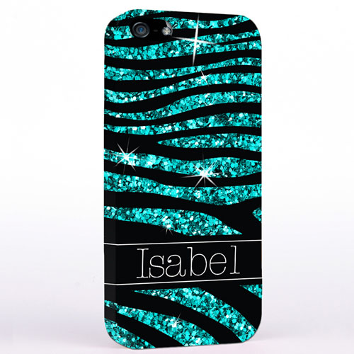 Personalized Glitter Peacock Animal Print iPhone Case