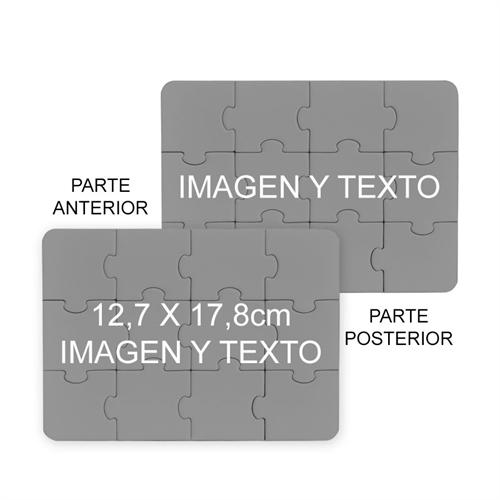 Personalice un rompecabezas de 12.70 cm x 17.78 cm modificado de los dos lados como invitación