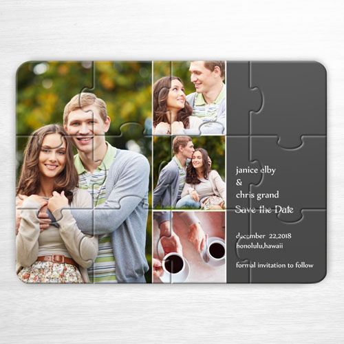 Personalice el rompecabezas con Guarde la fecha, con colage de 4 fotos de color gris como invitación