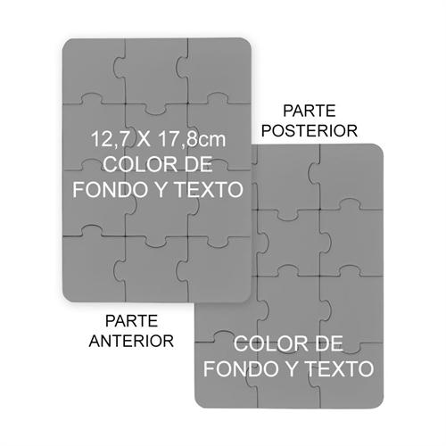 12.70 cm x 17.78 cm Rompecabezas de dos caras como invitaciones, con color de fondo o imagen y texto