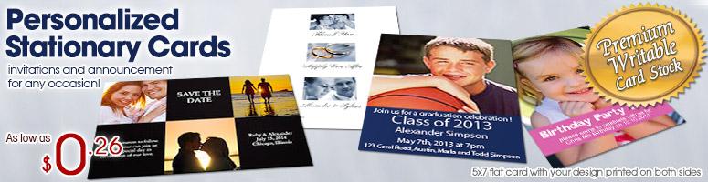Tarjetas de invitación con foto de papelería personalizada